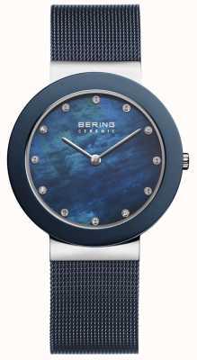 Bering Damski niebieski pasek z niebieską tarczą 11435-387