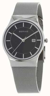Bering Męski czarny srebrny pasek 11938-002