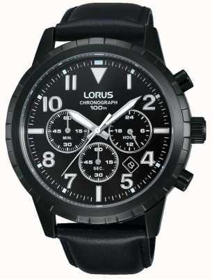 Lorus Męski czarny skórzany pasek chronografu RT365FX9
