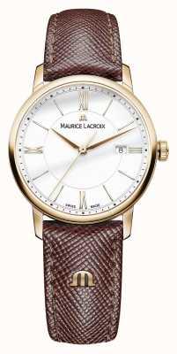 Maurice Lacroix Eliros damska biała tarcza w brązowym skórzanym pasie EL1094-PVP01-111-1