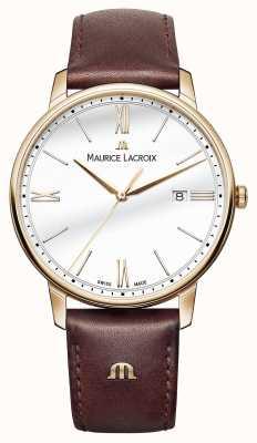 Maurice Lacroix Męski biały, okrągły, brązowy skórzany pasek EL1118-PVP01-112-1