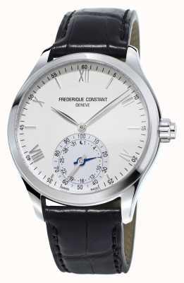 Frederique Constant Horological smartwatch biała tarcza w czarnym skórzanym pasie FC-285S5B6