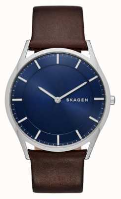 Skagen Brązowy skórzany zegarek holst SKW6237