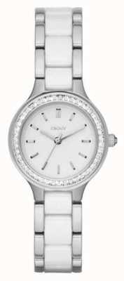 DKNY Womans pasek ze stali nierdzewnej, biała tarcza NY2494