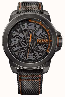Hugo Boss Orange Męski, czarny, platerowany pasek w kolorze szarej tarczy 1513343