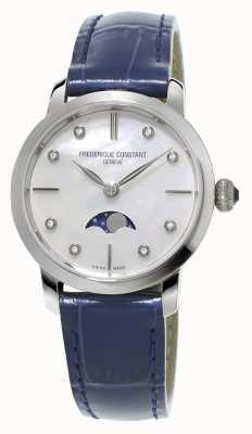 Frederique Constant Damski, wąski, niebieski skórzany pasek z diamentową fazą księżyca FC-206MPWD1S6