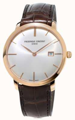 Frederique Constant Męski, smukły, automatyczny brązowy skórzany pasek FC-306V4S4