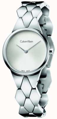 Calvin Klein Damska bransoletka ze stali węża ze srebrną tarczą K6E23146