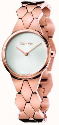 Calvin Klein Damska bransoletka w kształcie węża z różowego złota, srebrna tarcza K6E23646