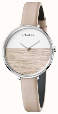 Calvin Klein Damski wzrost beżowy skórzany pasek beżowy tarcza K7A231XH