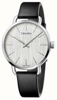 Calvin Klein Damski nawet czarny skórzany pasek srebrnej tarczy K7B211C6