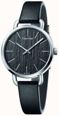 Calvin Klein Damski, nawet czarny skórzany pasek z czarną tarczą K7B231C1