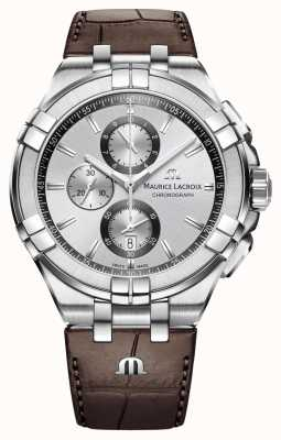 Maurice Lacroix Męskie aikon chronograf brązowy skórzany pasek srebrny tarcza AI1018-SS001-130-1