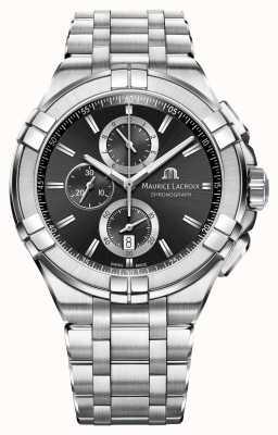 Maurice Lacroix Mens aikon chronograph bransoleta ze stali nierdzewnej czarna tarcza AI1018-SS002-330-1