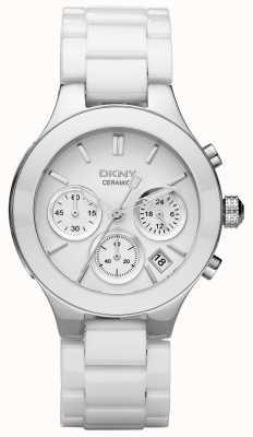 DKNY Biała biała tarcza chronografu z białym paskiem NY4912