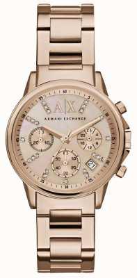 Armani Exchange Womans z różowego złota chronografu z metalowym paskiem w kolorze różowego złota AX4326