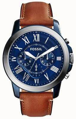Fossil Męski niebieski pasek chronografu z brązowym skórzanym paskiem FS5151
