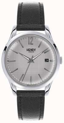 Henry London Męski srebrny skórzany pasek w czarnym kolorze HL39-S-0075