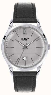 Henry London Męski szary skórzany czarny pasek HL41-JS-0081