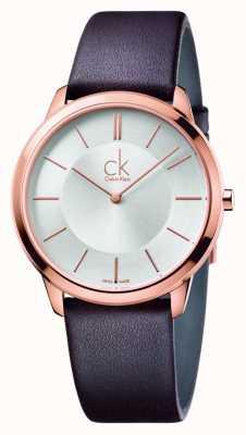 Calvin Klein Męski, minimalistyczny brązowy skórzany pasek K3M216G6