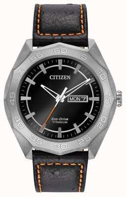 Citizen Męskie etui z tytanu czarny skórzany pasek czarna tarcza AW0060-03E