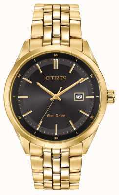 Citizen Bransoletka męska platerowana złotem, czarna tarcza BM7252-51E