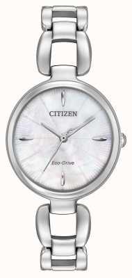 Citizen Damska bransoletka ze stali nierdzewnej z masy perłowej tarcza EM0420-54D