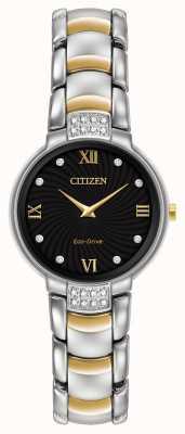 Citizen Bransoletka damska 24 diamentowa dwukolorowa czarna tarcza EX1464-54E