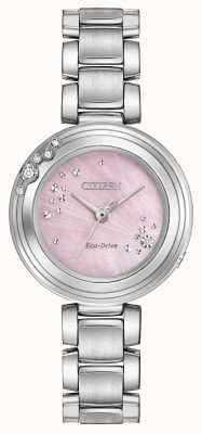 Citizen Eko-dysk dla kobiet sześć diamentów różowy dial wr50 EM0460-50N