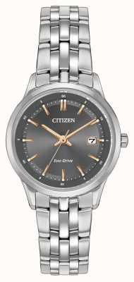 Citizen Damski zegarek ze stali nierdzewnej z szafirowym kryształem EW2400-58H