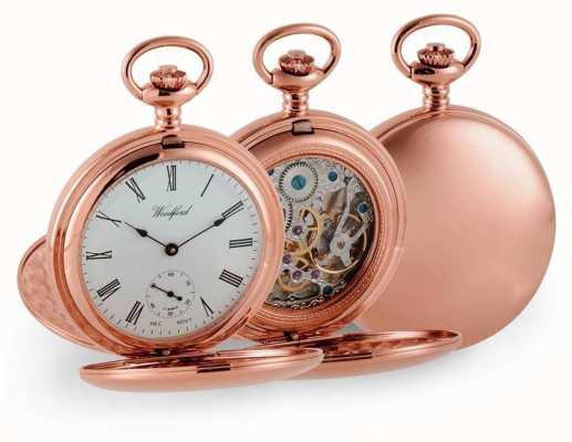 Woodford Mechaniczny zegarek kieszonkowy Double Hunter Rose Gold 1093
