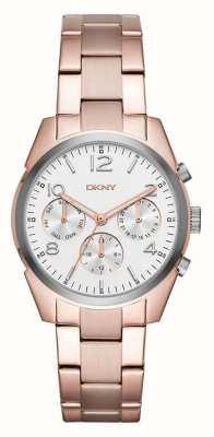 DKNY Womans pozłacany metalowy pasek z białą tarczą chronografu NY2472