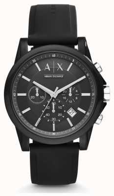 Armani Exchange Męski czarny silikonowy pasek z czarną tarczą chronografu AX1326