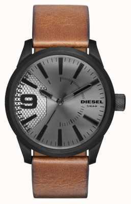 Diesel Męski brązowy skórzany pasek srebrnej tarczy z czarną obudową DZ1764