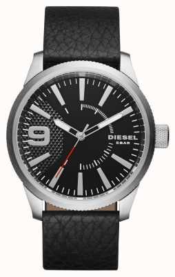 Diesel Męski czarny skórzany pasek z czarnym wykręcanym srebrnym etui DZ1766