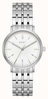 DKNY Pasek ze srebrnej siateczki ze stali nierdzewnej, okrągły biały zegar NY2502