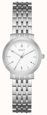 DKNY Pasek ze srebrnej siateczki ze stali nierdzewnej, okrągły biały zegar NY2509