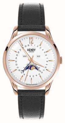 Henry London Czarny skórzany pasek Richmond z różowego złota HL39-LS-0150