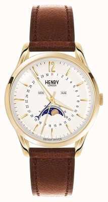 Henry London Złoty skórzany pasek Westminster HL39-LS-0148