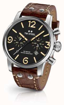 TW Steel Męski, indywidualny, chronograf, brązowy skórzany pasek z czarną tarczą MS3