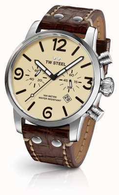 TW Steel Męski indywidualny chronograf brązowy skórzany pasek wybierania MS23
