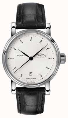 Muhle Glashutte Teutonia ii chronometr skórzany pasek srebrny tarcza M1-30-45-LB