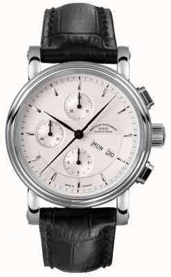 Muhle Glashutte Skórzany pasek chronografu Teutonia ii srebrna tarcza M1-30-95-LB