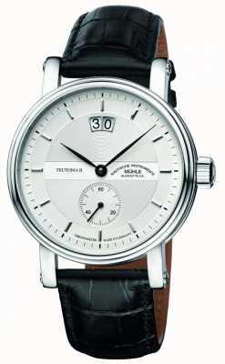Muhle Glashutte Teutonia ii grossdatum chronometr skórzany pasek srebrny tarcza M1-33-75-LB