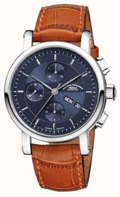 Muhle Glashutte Teutonia ii grossdatum chronometr skórzana opaska nocna niebieska tarcza M1-33-76-LB