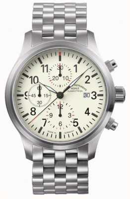 Muhle Glashutte Terrasport i chronograf ze stali nierdzewnej, kremowa tarcza M1-37-77-MB