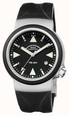 Muhle Glashutte Sar ratunkowy zegar indyjski gumka czarny tarcza M1-41-03-KB