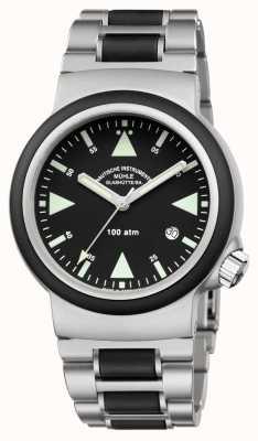 Muhle Glashutte Zegarek ratowniczy Sar ze stali nierdzewnej z czarną tarczą M1-41-03-MB