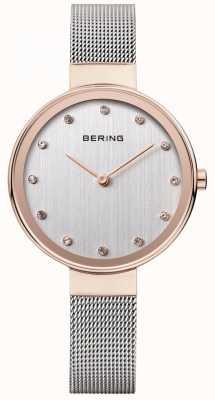 Bering Damski pasek ze stali nierdzewnej z srebrną tarczą 12034-064