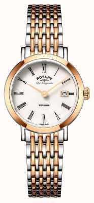 Rotary Womans windsor dwukolorowy pasek ze srebra różowego złota LB90155/01